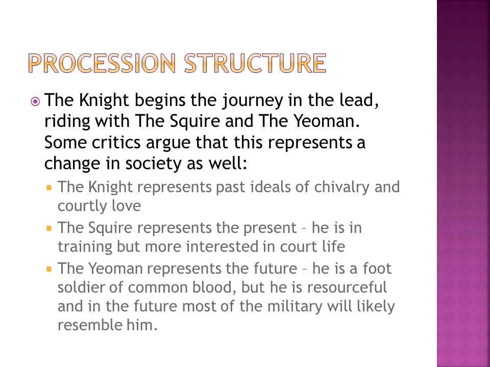  The Knight begins the journey in the lead, riding with The Squire and The Yeoman.