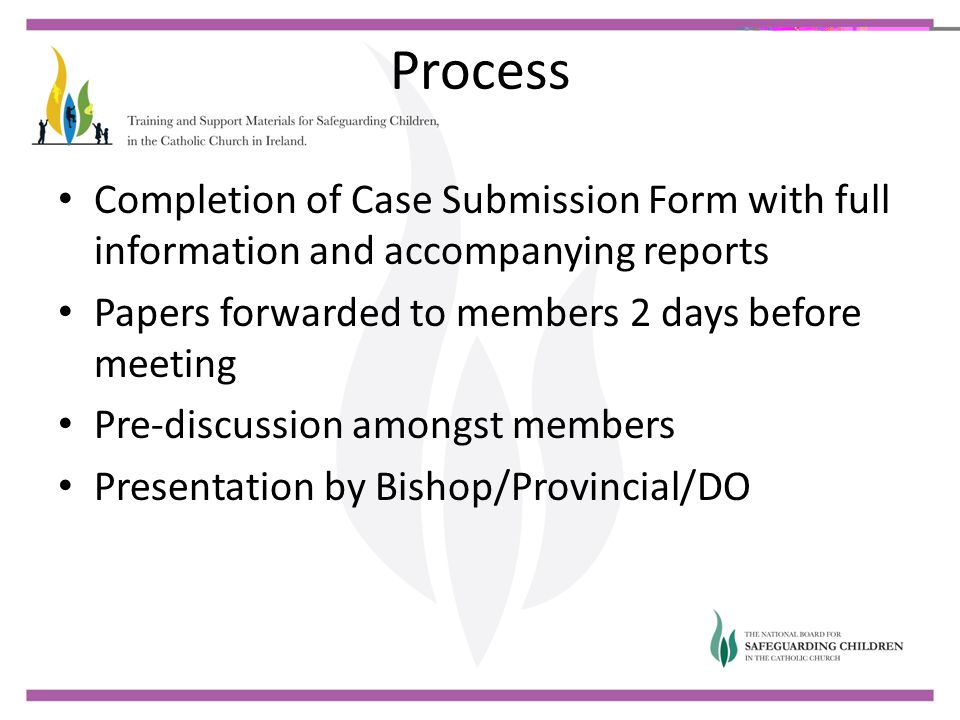Process Completion of Case Submission Form with full information and accompanying reports Papers forwarded to members 2 days before meeting Pre-discus