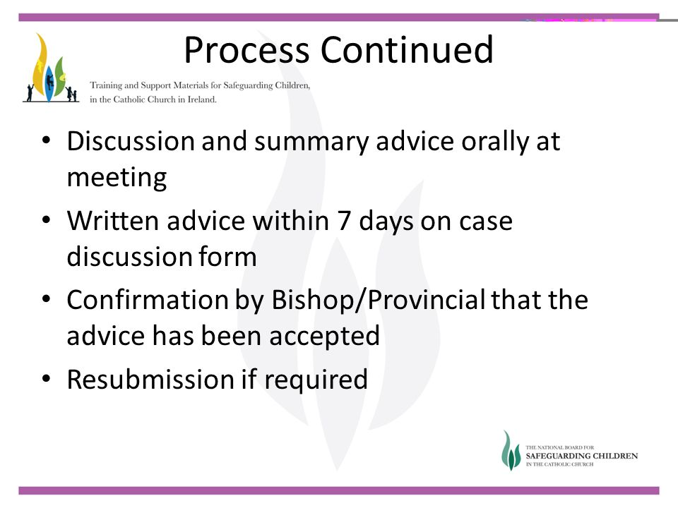 Process Continued Discussion and summary advice orally at meeting Written advice within 7 days on case discussion form Confirmation by Bishop/Provinci