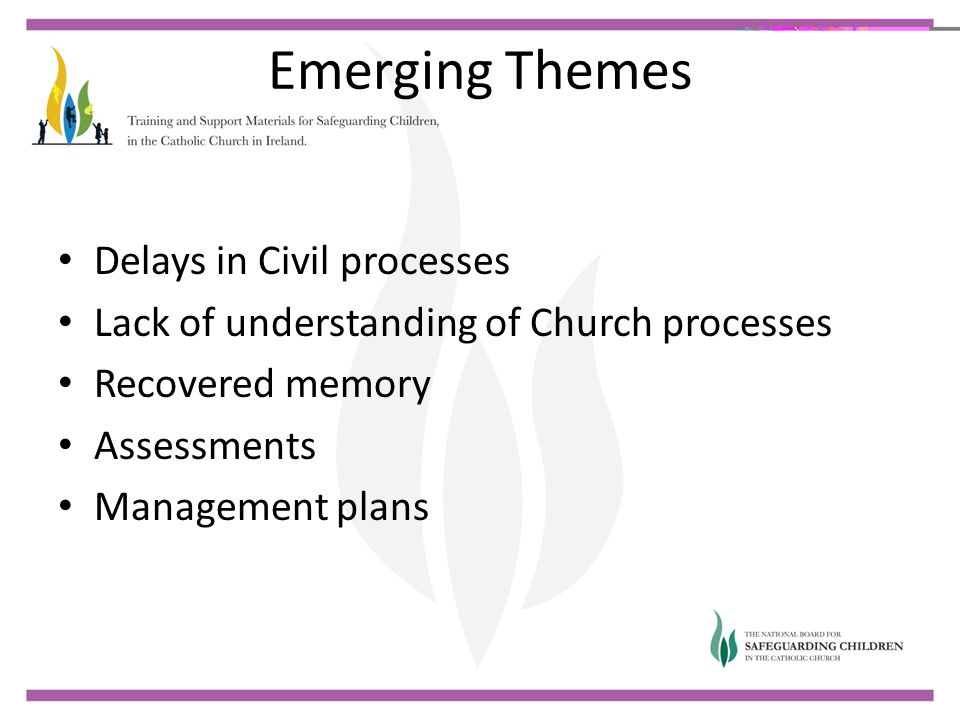 Emerging Themes Delays in Civil processes Lack of understanding of Church processes Recovered memory Assessments Management plans