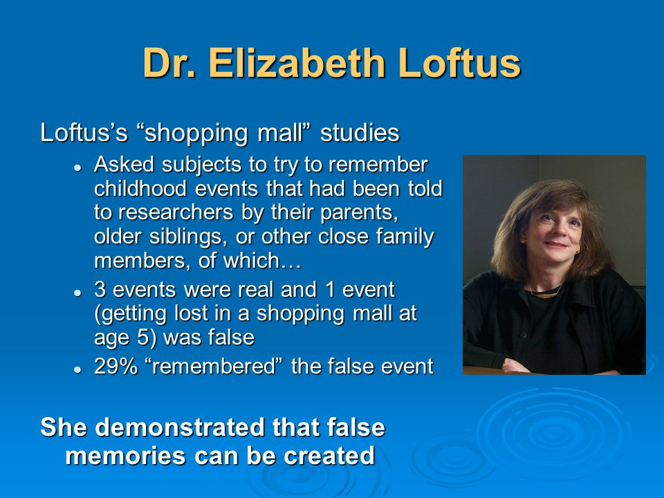 "Dr. Elizabeth Loftus Loftus's ""shopping mall"" studies Asked subjects to try to remember childhood events that had been told to researchers by their pa"