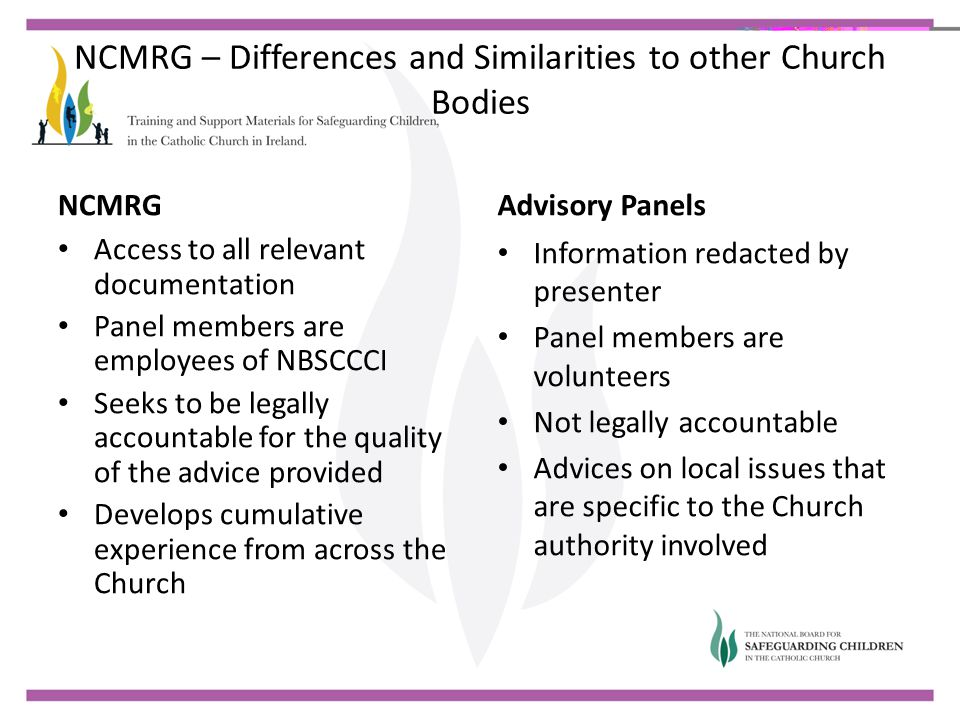 NCMRG – Differences and Similarities to other Church Bodies NCMRG Access to all relevant documentation Panel members are employees of NBSCCCI Seeks to