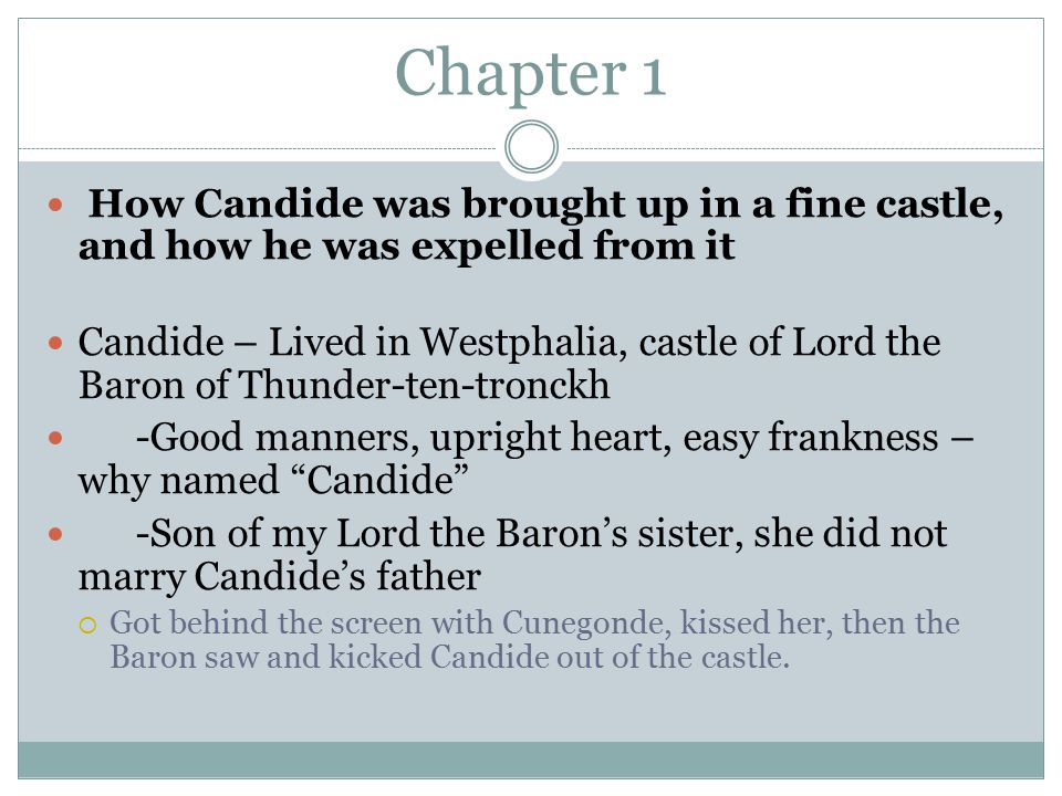 Chapter 1 How Candide was brought up in a fine castle, and how he was expelled from it Candide – Lived in Westphalia, castle of Lord the Baron of Thunder-ten-tronckh -Good manners, upright heart, easy frankness – why named Candide -Son of my Lord the Baron's sister, she did not marry Candide's father  Got behind the screen with Cunegonde, kissed her, then the Baron saw and kicked Candide out of the castle.