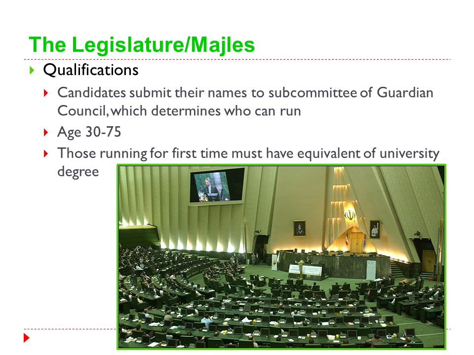 The Legislature/Majles  Qualifications  Candidates submit their names to subcommittee of Guardian Council, which determines who can run  Age 30-75