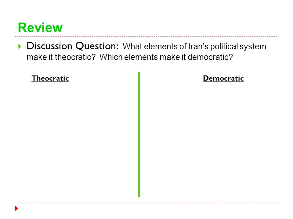 Review  Discussion Question: What elements of Iran's political system make it theocratic? Which elements make it democratic? TheocraticDemocratic