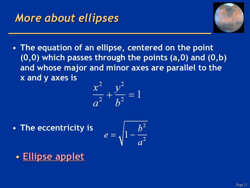 Page 25 More about ellipses Ellipse appletEllipse appletEllipse appletEllipse applet The equation of an ellipse, centered on the point (0,0) which passes through the points (a,0) and (0,b) and whose major and minor axes are parallel to the x and y axes is The eccentricity is