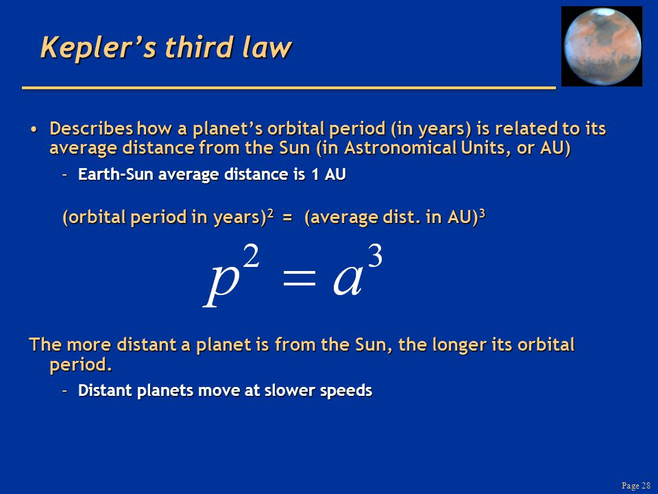 Page 28 Kepler's third law Describes how a planet's orbital period (in years) is related to its average distance from the Sun (in Astronomical Units, or AU)Describes how a planet's orbital period (in years) is related to its average distance from the Sun (in Astronomical Units, or AU) –Earth-Sun average distance is 1 AU (orbital period in years) 2 = (average dist.