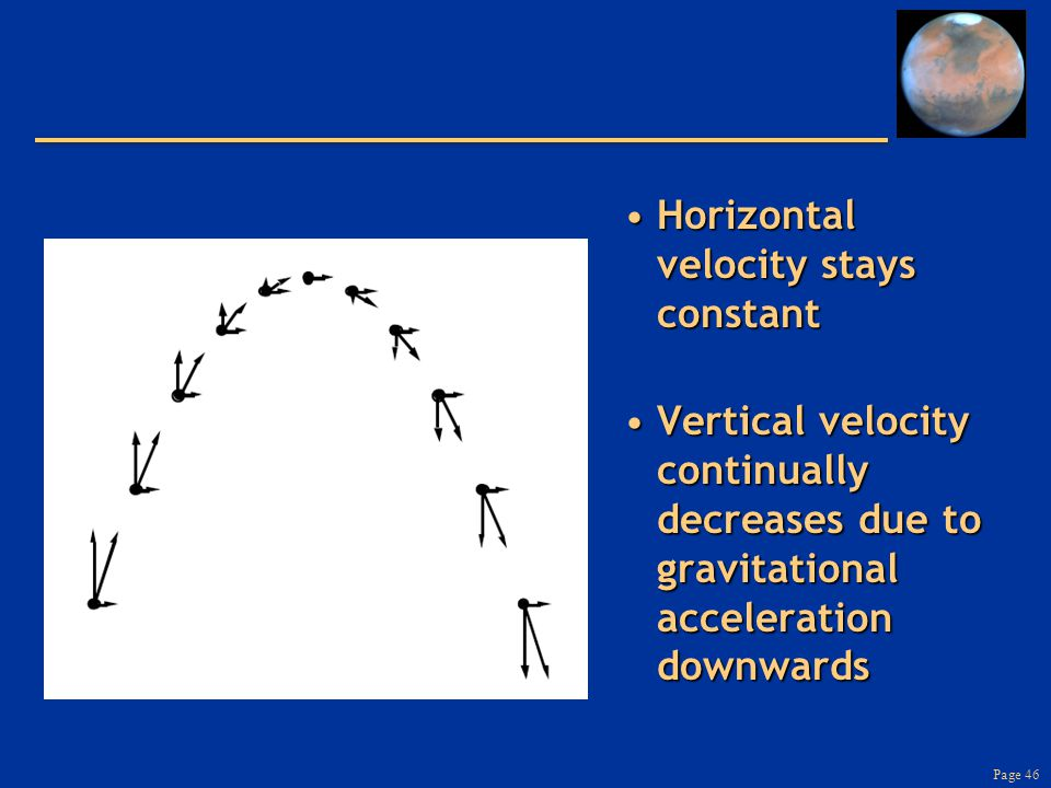 Page 46 Horizontal velocity stays constantHorizontal velocity stays constant Vertical velocity continually decreases due to gravitational acceleration downwardsVertical velocity continually decreases due to gravitational acceleration downwards