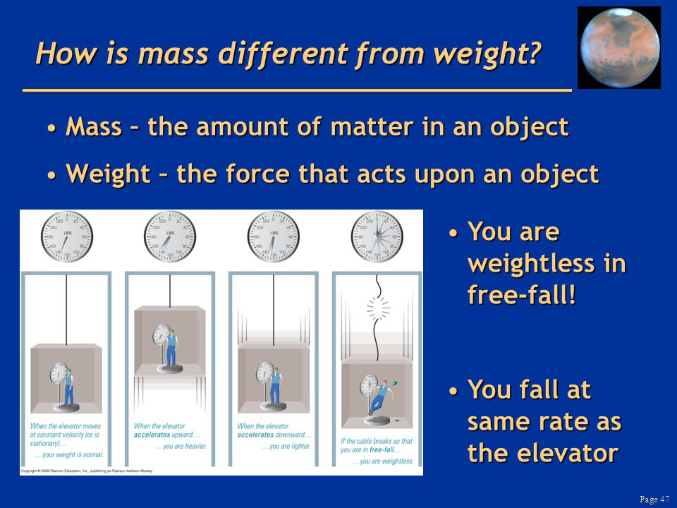 Page 47 How is mass different from weight.