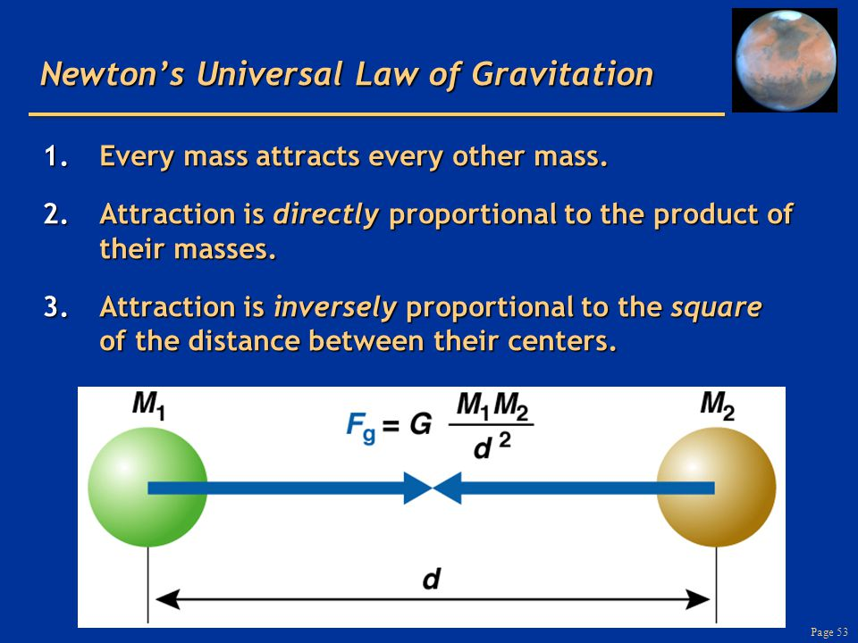 Page 53 Newton's Universal Law of Gravitation 1.Every mass attracts every other mass. 2.Attraction is directly proportional to the product of their ma