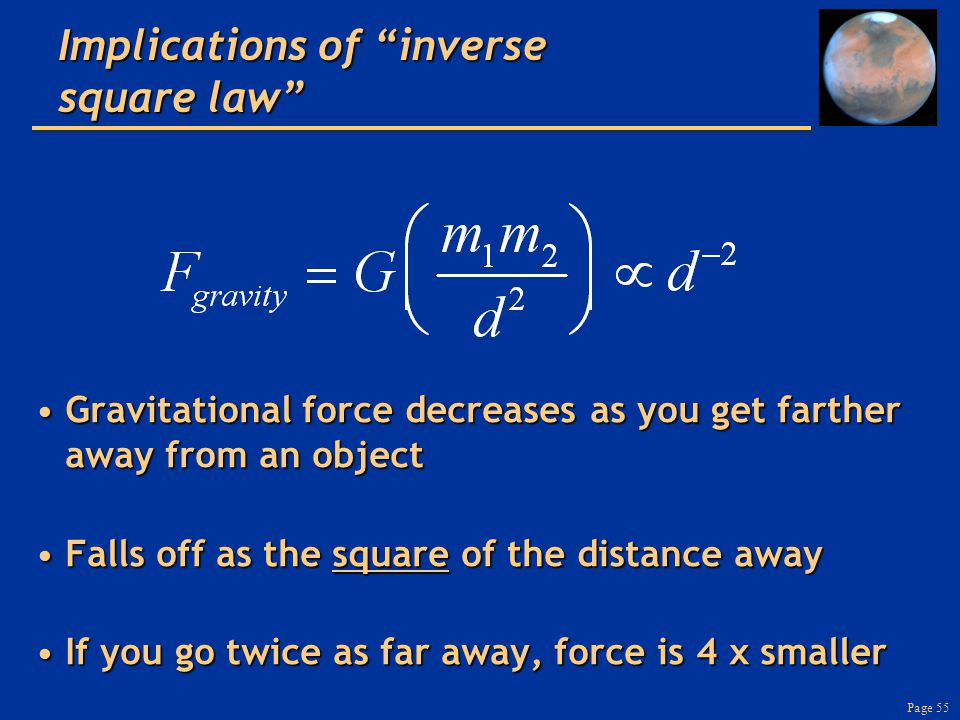 Page 55 Implications of inverse square law Gravitational force decreases as you get farther away from an objectGravitational force decreases as you get farther away from an object Falls off as the square of the distance awayFalls off as the square of the distance away If you go twice as far away, force is 4 x smallerIf you go twice as far away, force is 4 x smaller