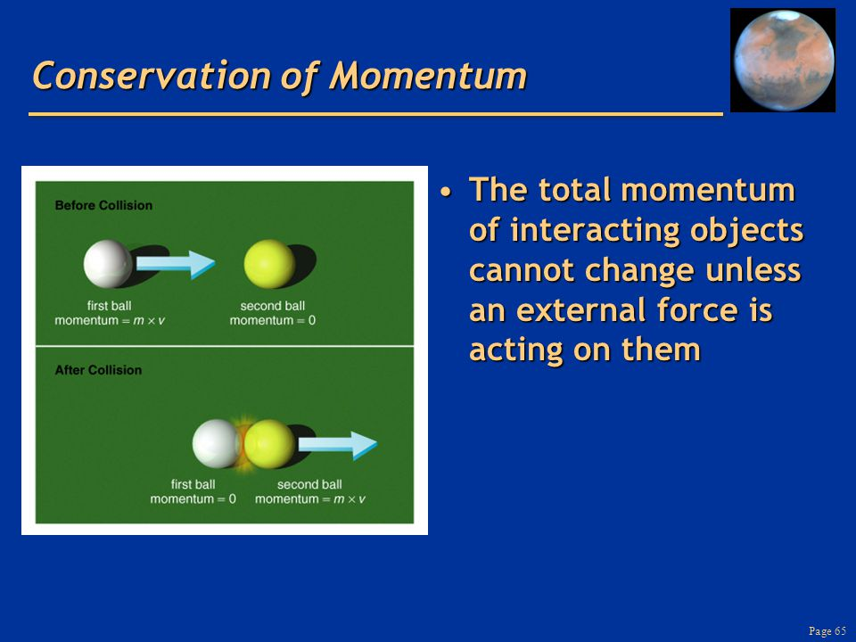 Page 65 Conservation of Momentum The total momentum of interacting objects cannot change unless an external force is acting on themThe total momentum of interacting objects cannot change unless an external force is acting on them