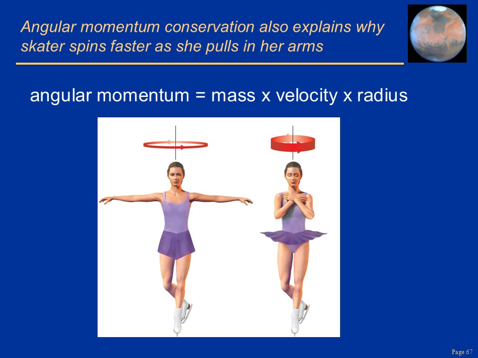 Page 67 Angular momentum conservation also explains why skater spins faster as she pulls in her arms angular momentum = mass x velocity x radius