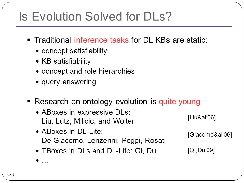 Is Evolution Solved for DLs.