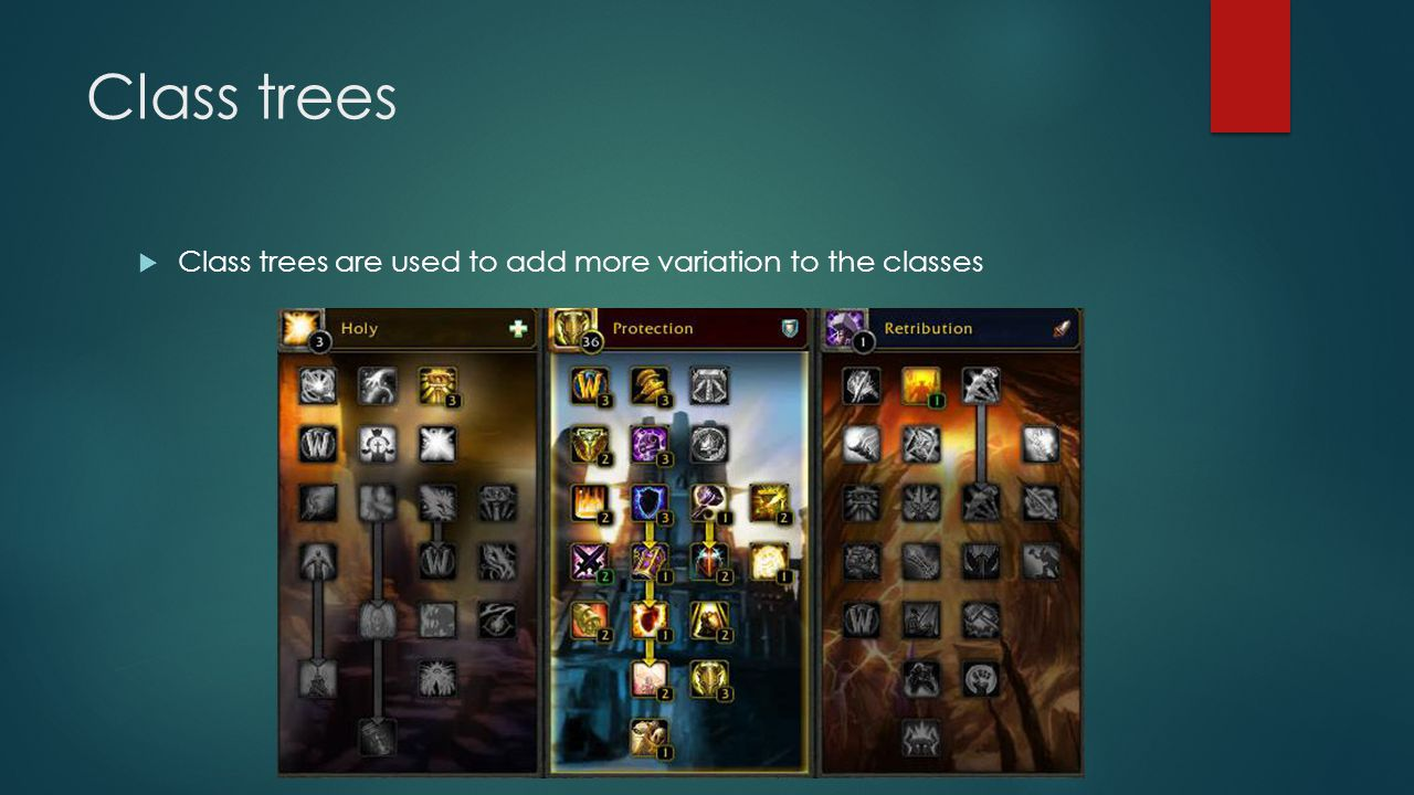 Class trees  Class trees are used to add more variation to the classes