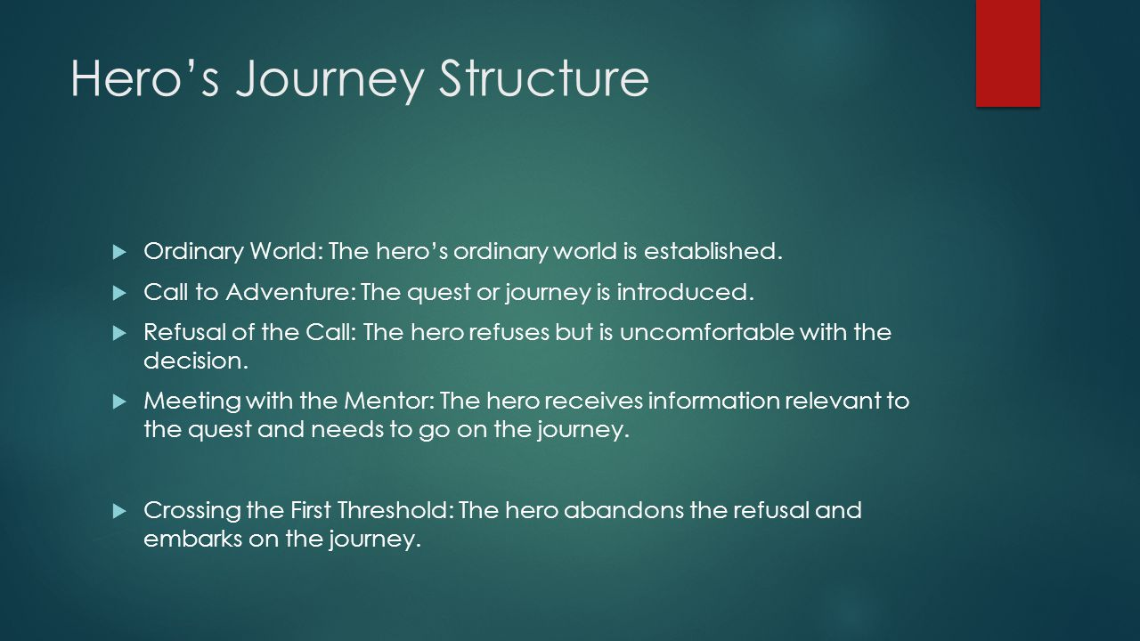Hero's Journey Structure  Ordinary World: The hero's ordinary world is established.