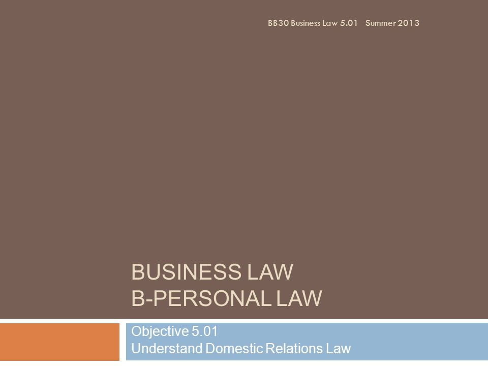 BUSINESS LAW B-PERSONAL LAW Objective 5.01 Understand Domestic Relations Law BB30 Business Law 5.01Summer 2013