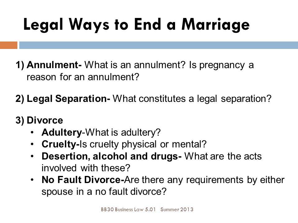 Legal Ways to End a Marriage BB30 Business Law 5.01Summer 2013 1)Annulment- What is an annulment? Is pregnancy a reason for an annulment? 2)Legal Sepa