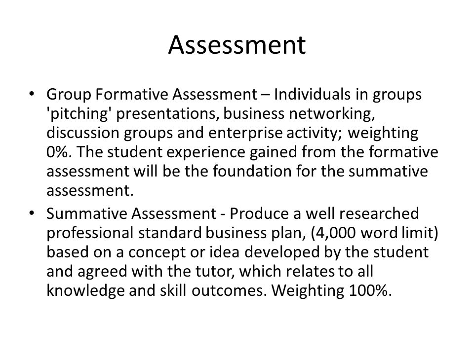 Assessment Group Formative Assessment – Individuals in groups pitching presentations, business networking, discussion groups and enterprise activity; weighting 0%.