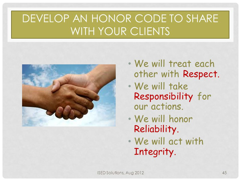 DEVELOP AN HONOR CODE TO SHARE WITH YOUR CLIENTS We will treat each other with Respect.