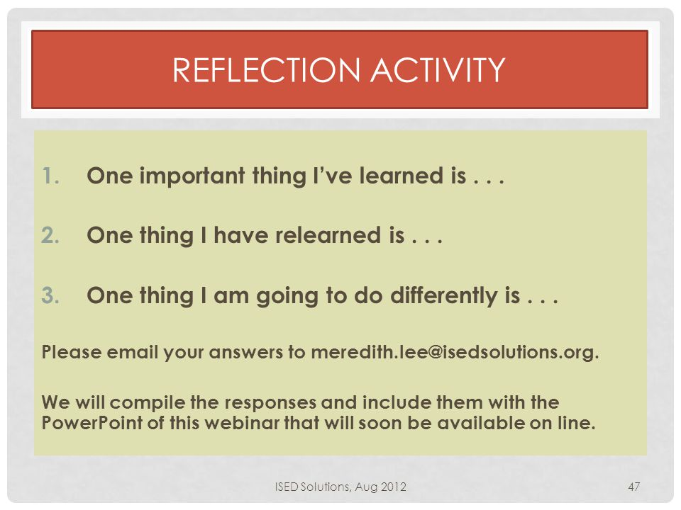 REFLECTION ACTIVITY 1.One important thing I've learned is...