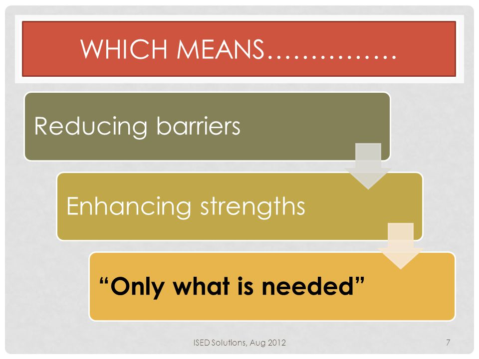 "WHICH MEANS…………… Reducing barriersEnhancing strengths ""Only what is needed"" ISED Solutions, Aug 20127"