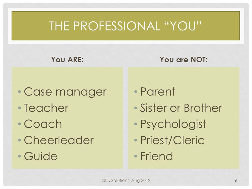 "THE PROFESSIONAL ""YOU"" You ARE: Case manager Teacher Coach Cheerleader Guide You are NOT: Parent Sister or Brother Psychologist Priest/Cleric Friend I"