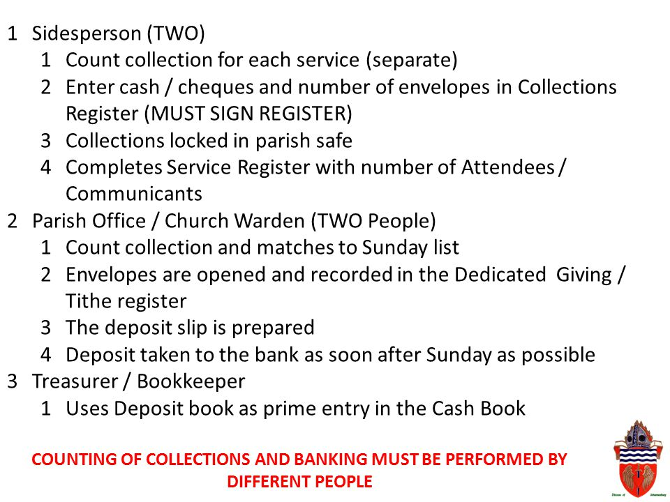 1Sidesperson (TWO) 1Count collection for each service (separate) 2Enter cash / cheques and number of envelopes in Collections Register (MUST SIGN REGI