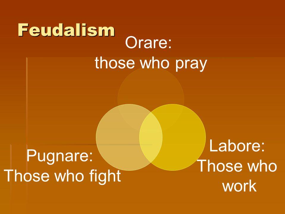 Feudalism Orare: those who pray Labore: Those who work Pugnare: Those who fight