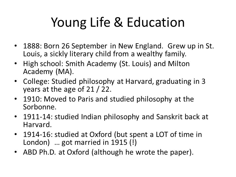Young Life & Education 1888: Born 26 September in New England.