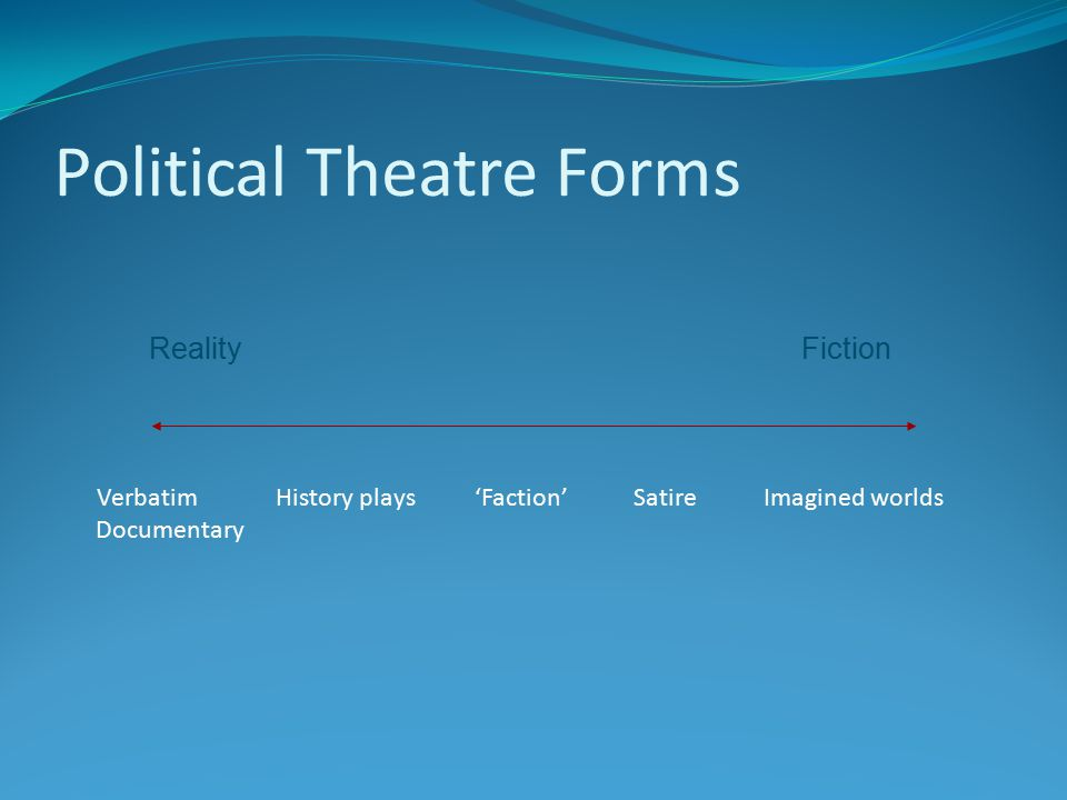 Political Theatre Forms Verbatim History plays 'Faction' Satire Imagined worlds Documentary Reality Fiction