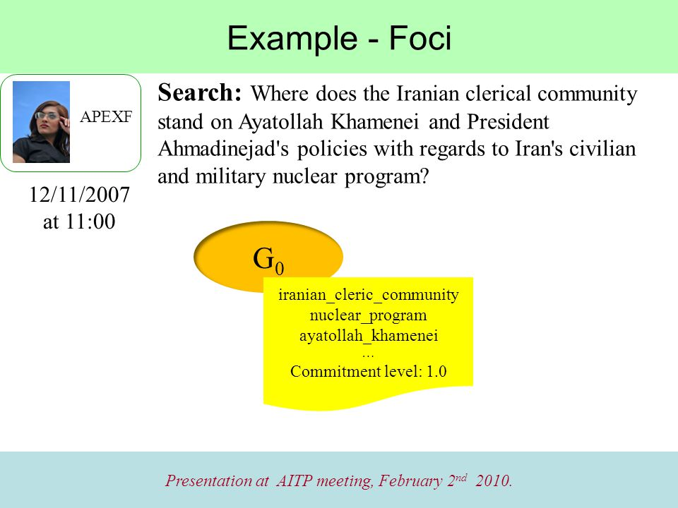 Example - Foci Presentation at AITP meeting, February 2 nd 2010.