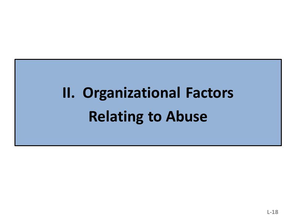 II. Organizational Factors Relating to Abuse L-18