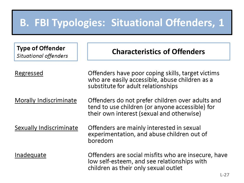 B. FBI Typologies: Situational Offenders, 1 RegressedOffenders have poor coping skills, target victims who are easily accessible, abuse children as a