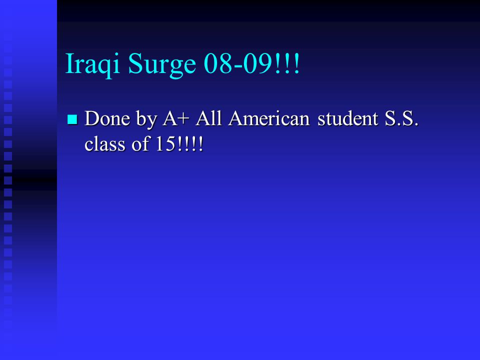 Iraqi Surge 08-09!!! Done by A+ All American student S.S. class of 15!!!! Done by A+ All American student S.S. class of 15!!!!