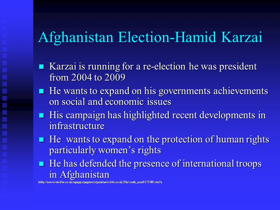 Afghanistan Election-Hamid Karzai Karzai is running for a re-election he was president from 2004 to 2009 Karzai is running for a re-election he was pr