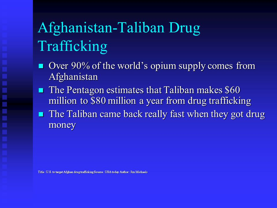 Afghanistan-Taliban Drug Trafficking Over 90% of the world's opium supply comes from Afghanistan Over 90% of the world's opium supply comes from Afgha