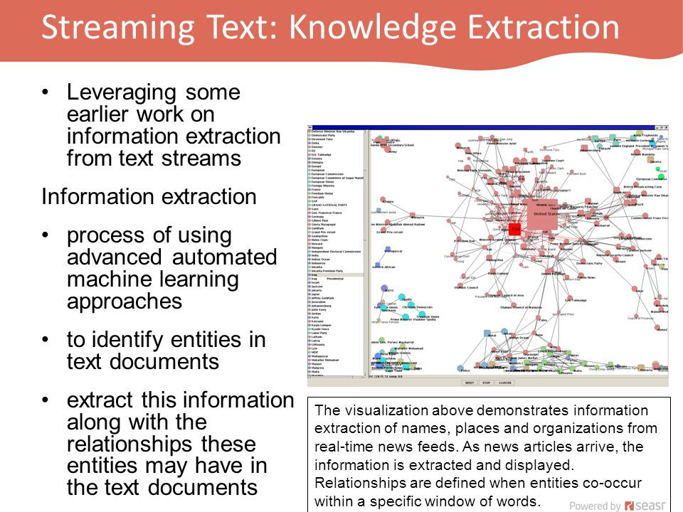 Streaming Text: Knowledge Extraction Leveraging some earlier work on information extraction from text streams Information extraction process of using advanced automated machine learning approaches to identify entities in text documents extract this information along with the relationships these entities may have in the text documents The visualization above demonstrates information extraction of names, places and organizations from real-time news feeds.
