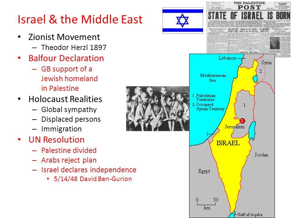 Israel & the Middle East Zionist Movement – Theodor Herzl 1897 Balfour Declaration – GB support of a Jewish homeland in Palestine Holocaust Realities – Global sympathy – Displaced persons – Immigration UN Resolution – Palestine divided – Arabs reject plan – Israel declares independence 5/14/48 David Ben-Gurion