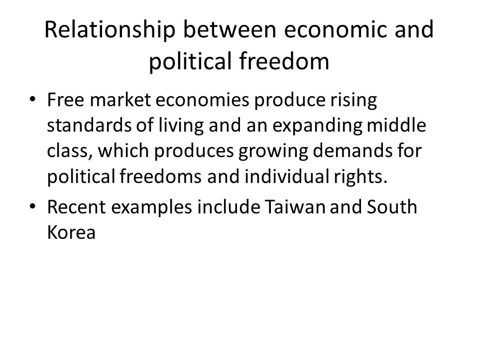 Relationship between economic and political freedom Free market economies produce rising standards of living and an expanding middle class, which produces growing demands for political freedoms and individual rights.