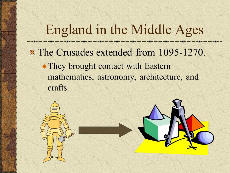 England in the Middle Ages The Crusades extended from 1095-1270.