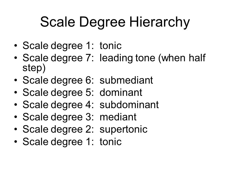 Scale Degree Hierarchy Scale degree 1: tonic Scale degree 7: leading tone (when half step) Scale degree 6: submediant Scale degree 5: dominant Scale degree 4: subdominant Scale degree 3: mediant Scale degree 2: supertonic Scale degree 1: tonic