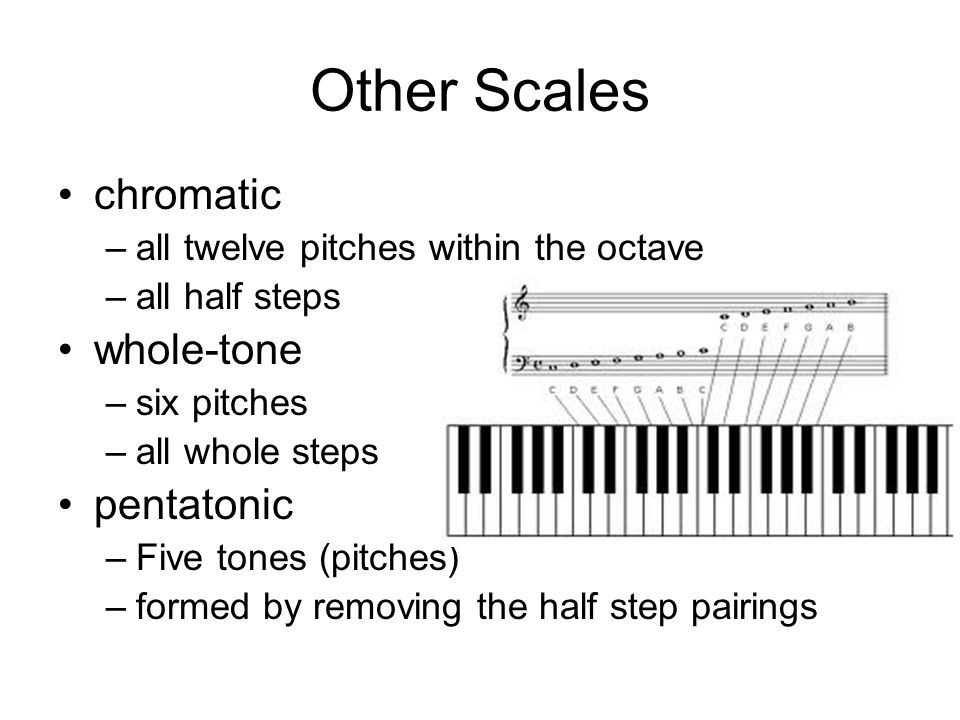 Other Scales chromatic –all twelve pitches within the octave –all half steps whole-tone –six pitches –all whole steps pentatonic –Five tones (pitches) –formed by removing the half step pairings