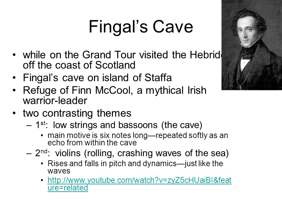 Fingal's Cave while on the Grand Tour visited the Hebrides off the coast of Scotland Fingal's cave on island of Staffa Refuge of Finn McCool, a mythic