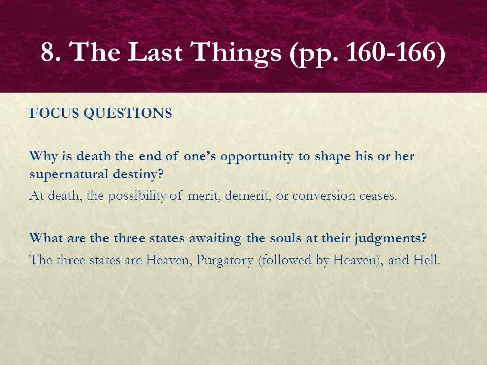 FOCUS QUESTIONS What are the two judgments spoken of in the New Testament.