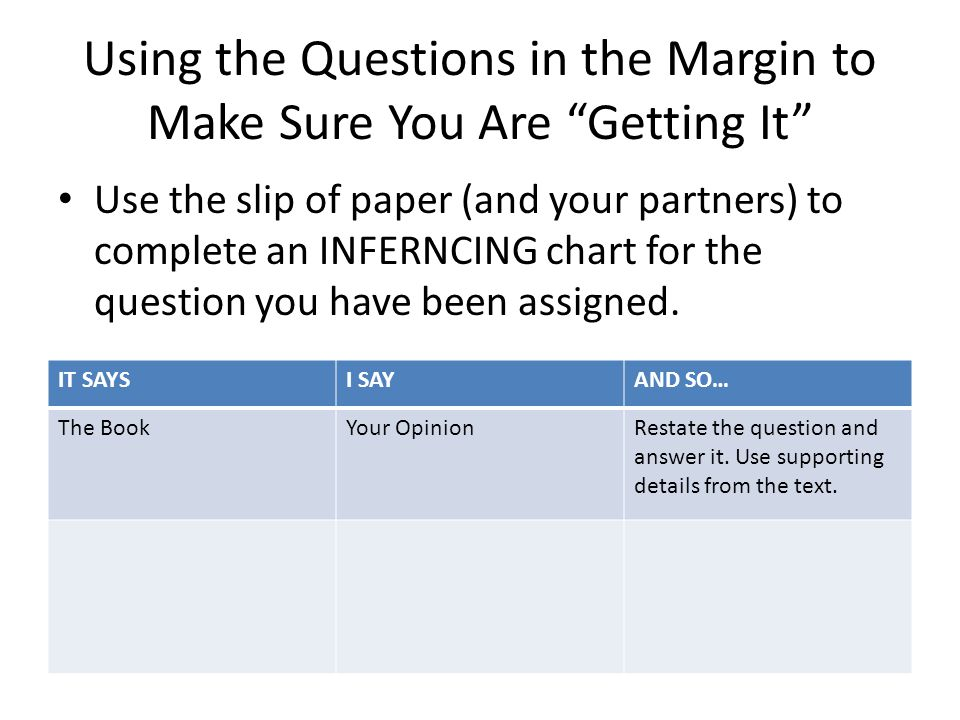 Using the Questions in the Margin to Make Sure You Are Getting It Use the slip of paper (and your partners) to complete an INFERNCING chart for the question you have been assigned.