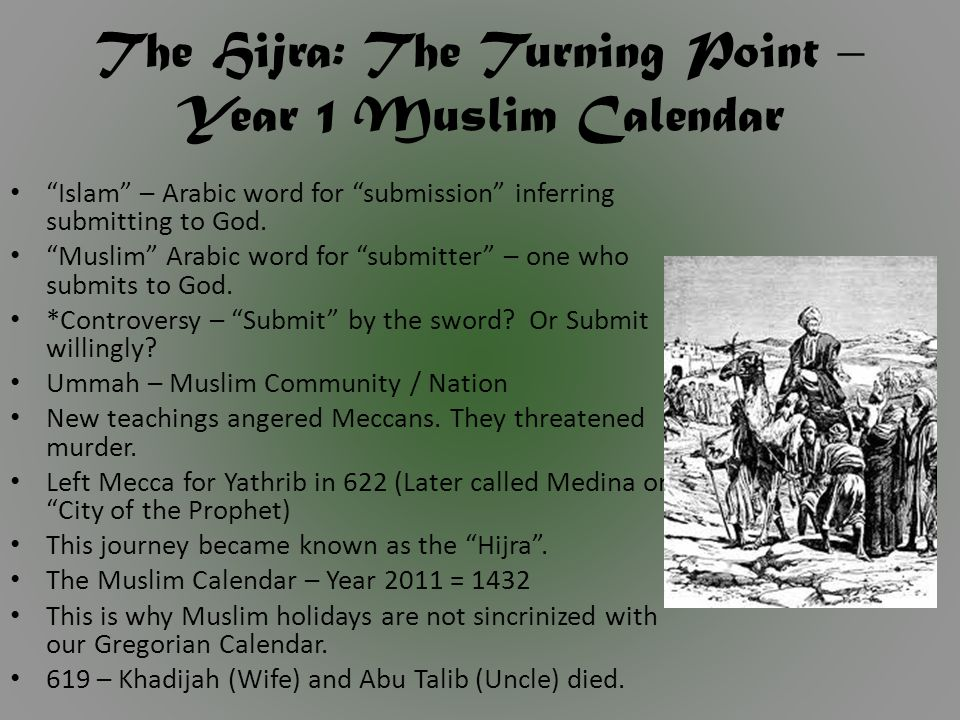 The Hijra: The Turning Point – Year 1 Muslim Calendar Islam – Arabic word for submission inferring submitting to God.