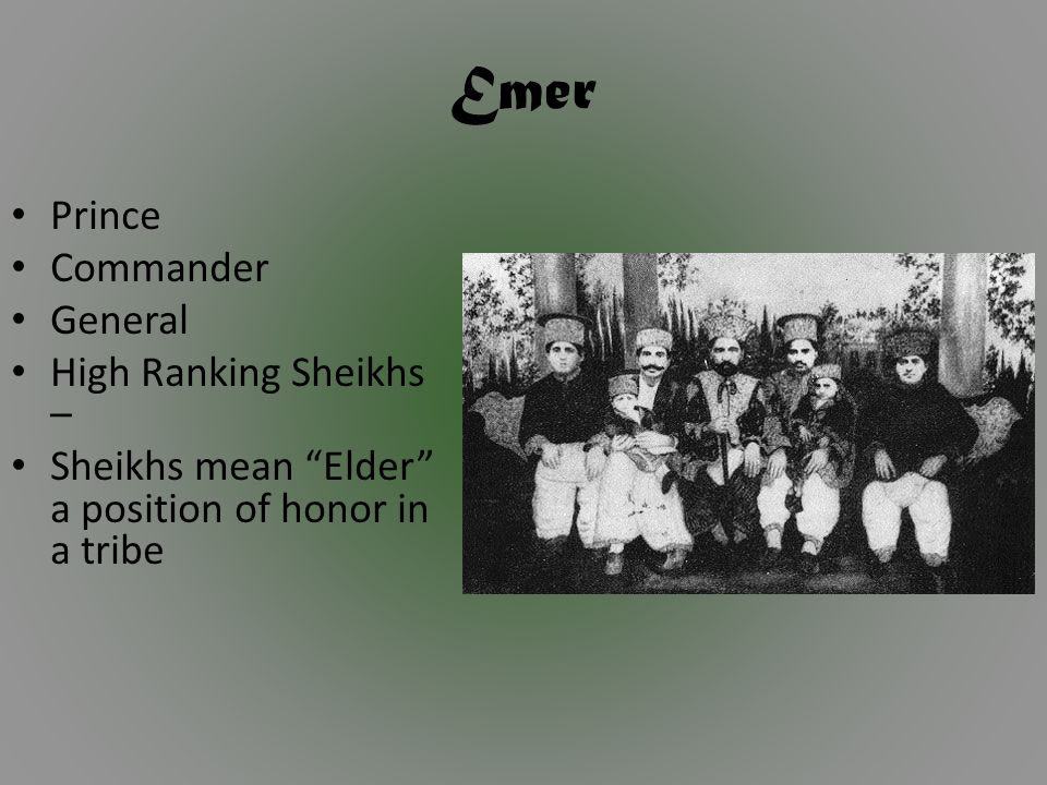 Emer Prince Commander General High Ranking Sheikhs – Sheikhs mean Elder a position of honor in a tribe