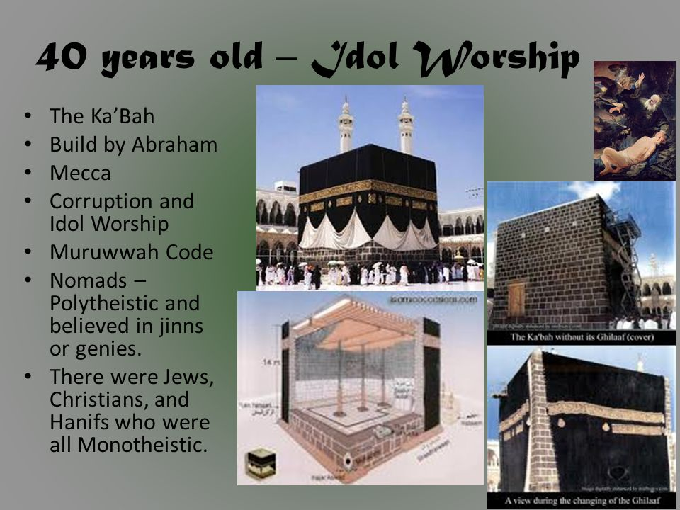 40 years old – Idol Worship The Ka'Bah Build by Abraham Mecca Corruption and Idol Worship Muruwwah Code Nomads – Polytheistic and believed in jinns or genies.