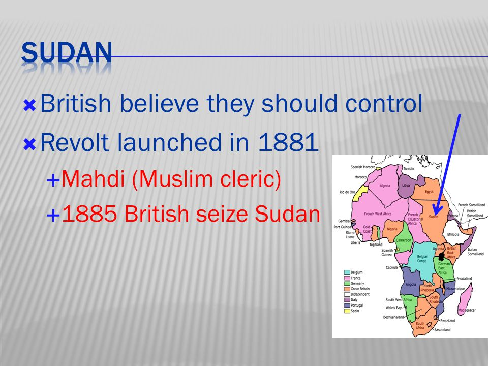  British believe they should control  Revolt launched in 1881  Mahdi (Muslim cleric)  1885 British seize Sudan